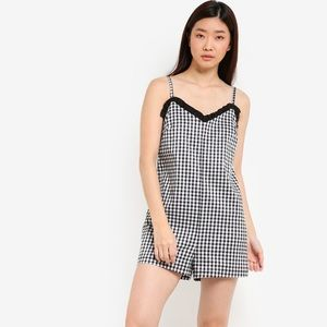 Topshop Black & White Gingham Romper Size 4 or 6